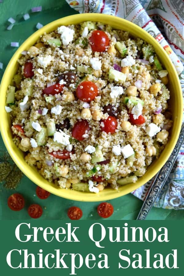 Greek Quinoa Chickpea Salad - a healthy Greek inspired salad that is great for making ahead