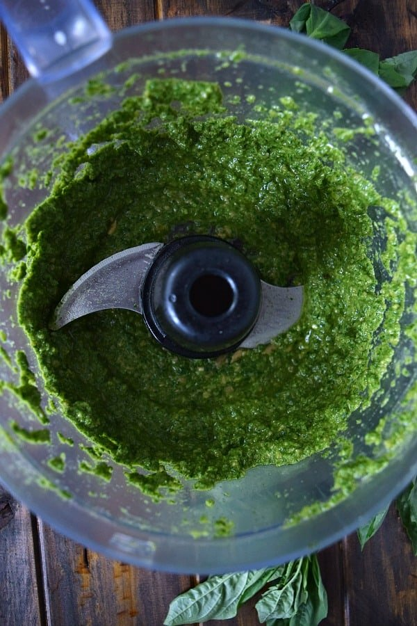 freshly made sunflower seed basil pesto in the food processor