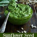 Sunflower Seed Basil Pesto - easy, nut free, & vegan