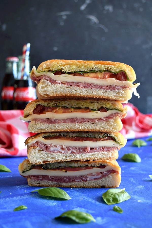 a stack of Italian Pressed Picnic Sandwich ready to eat