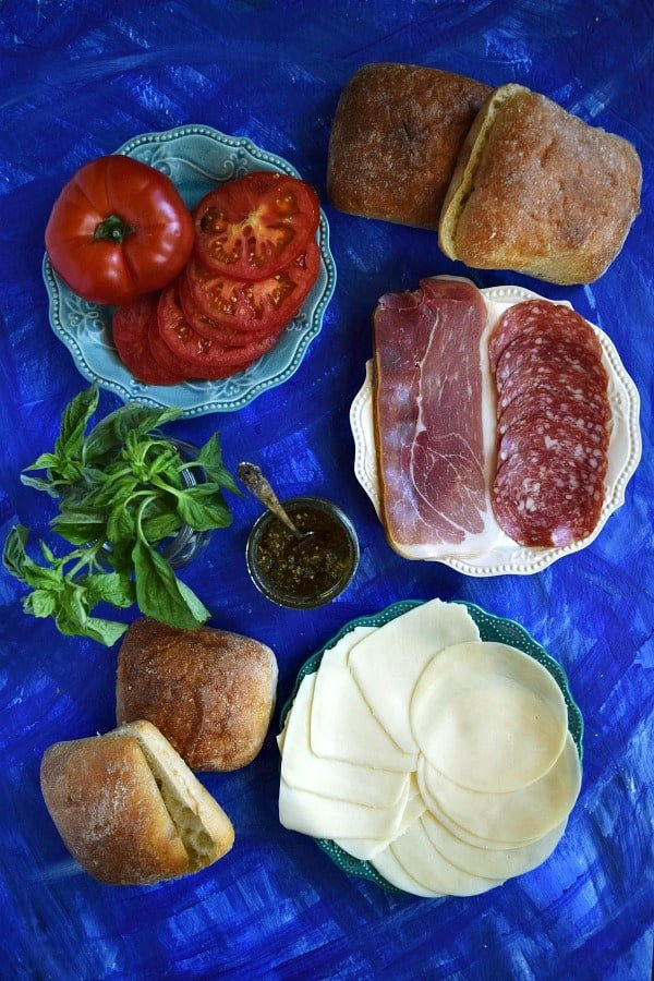 All the ingredients for an Italian Pressed Picnic Sandwich