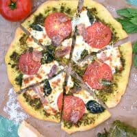 Pesto Pizza with Prosciutto, Tomatoes, and Mozzarella Recipe