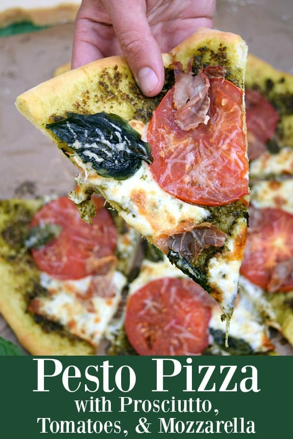 Pesto Pizza with Prosciutto, Tomatoes, and Mozzarella