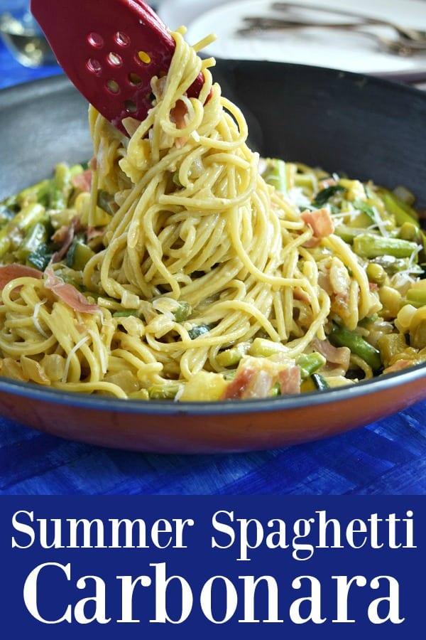 Summer Spaghetti Carbonara - a veggie filled summer version of this classic pasta dish
