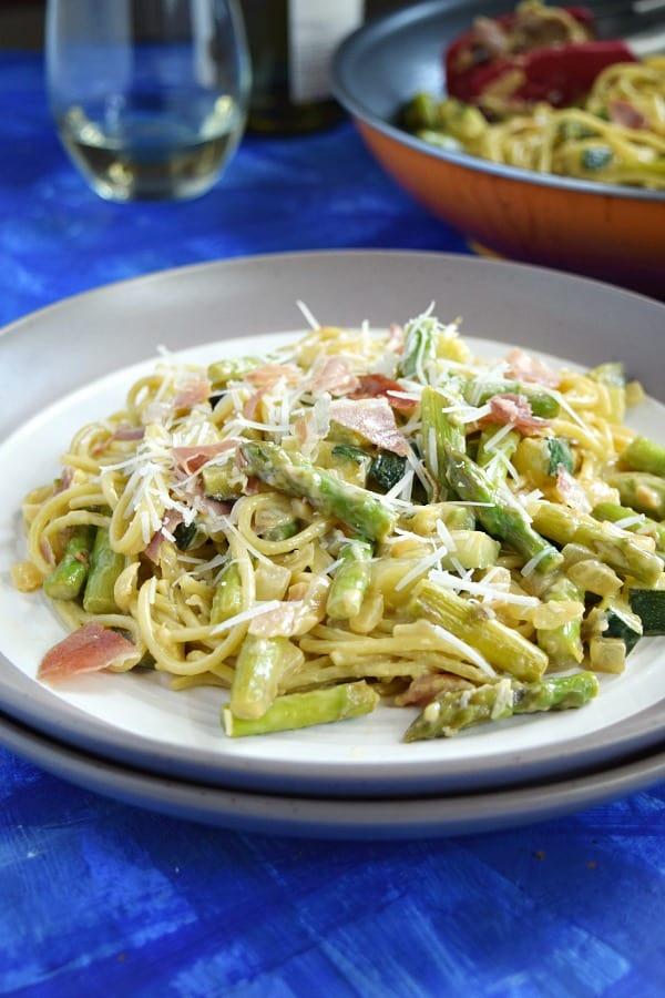 Summer Spaghetti Carbonara Plated
