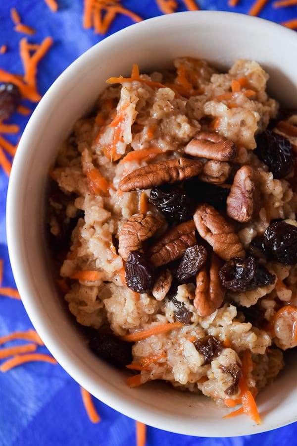 A big bowl of clean eating carrot cake oatmeal