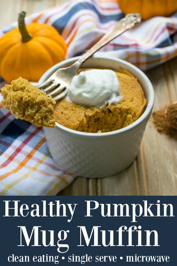 Healthy Pumpkin Mug Muffin (single serve) - this microwavable clean eating muffin is ready to eat in 5 minutes