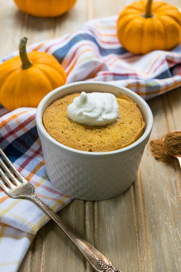 This microwavable single serve healthy pumpkin mug muffin is made in a mug in your microwave in less than 5 minutes