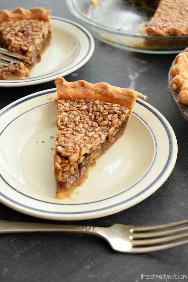 Sunflower Seed Pie - a crust of crunchy sunflower seeds baked over a sweet and gooey center makes this nut free pie perfect for any occasion
