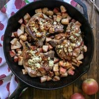 Apple Bacon Blue Smothered Pork Chops