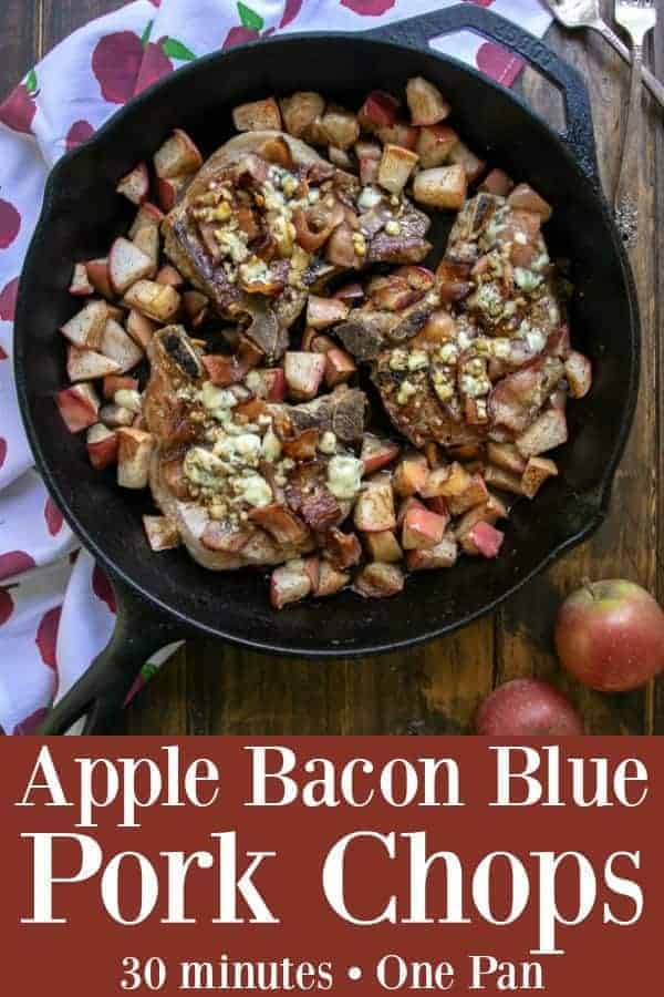 Apple Bacon Blue Pork Chops ready to eat in 30 minutes, made in only one skillet