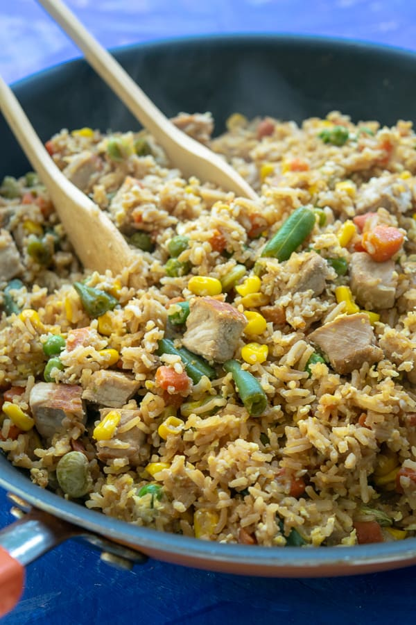 Quick Easy Pork Fried Rice in a skillet