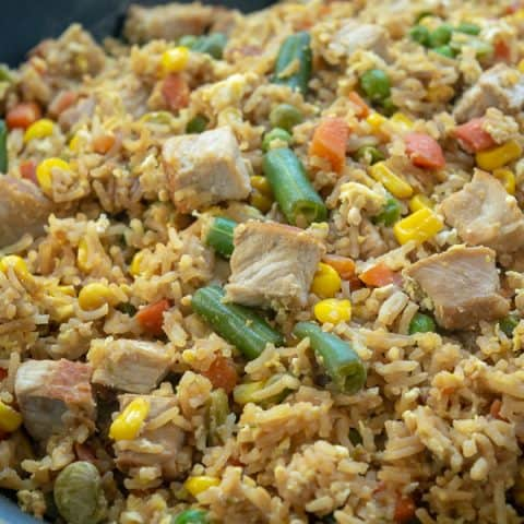 Quick Easy Pork Fried Rice is cooked in one skillet and ready to eat in 30 minutes