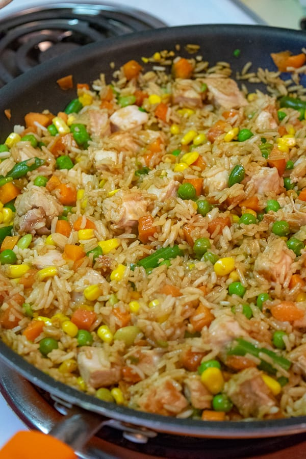 Vegetables, Rice, and Pork in the skillet