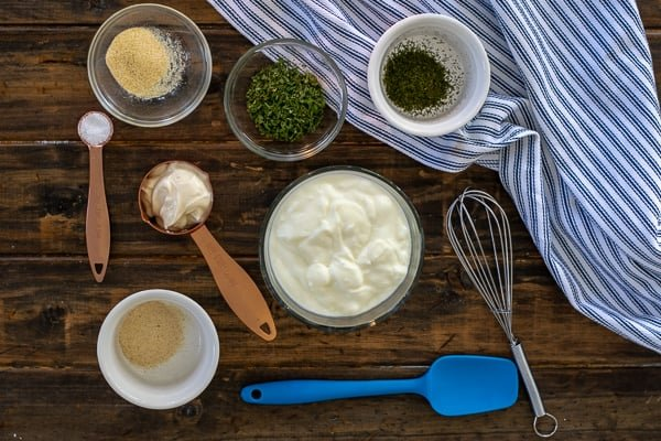 ingredients for heathy yogurt ranch dip