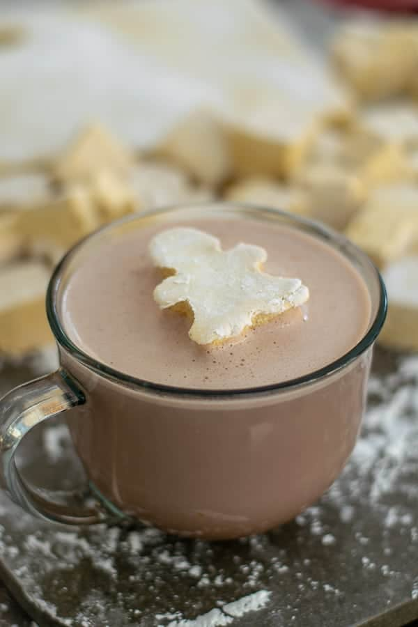 a homemade gingerbread marshmallow in a cup of hot chocolate