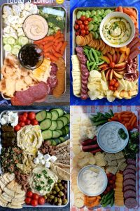 four examples of real life sheet pan snack platters