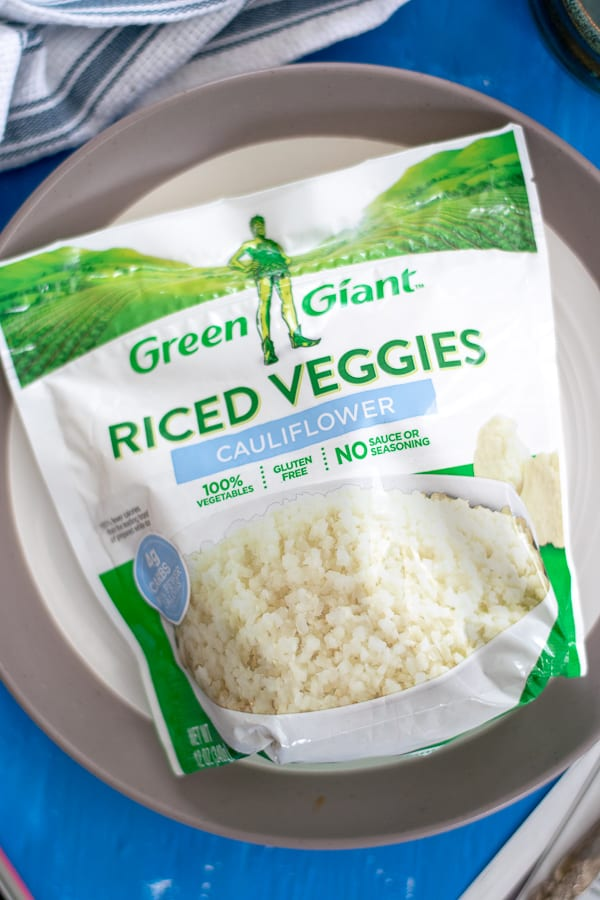 a bag of frozen riced cauliflower, an ingredient in this dish