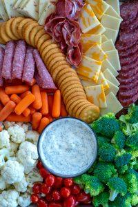 overhead shot of a sheet pan snack platter