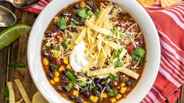 Overhead shot of a bowl of Slow Cooker Black Bean Tortilla Soup