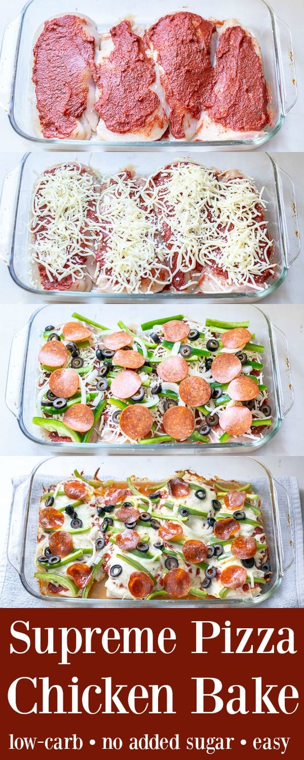 Supreme Pizza Chicken Bake Recipe Low Carb -Step by Step, an super easy and delish weeknight dinner