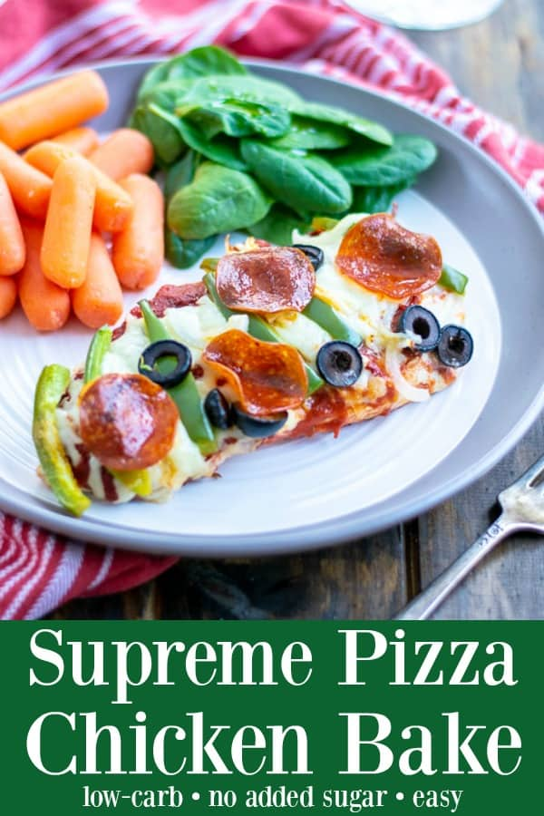 Supreme Pizza Chicken Bake Recipe Low Carb - no one is going to miss the crust once you serve them this easy and tasty pizza chicken bake