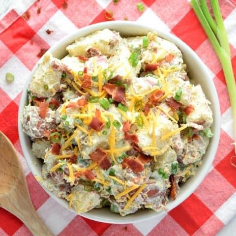overhead view of bacon ranch potato salad