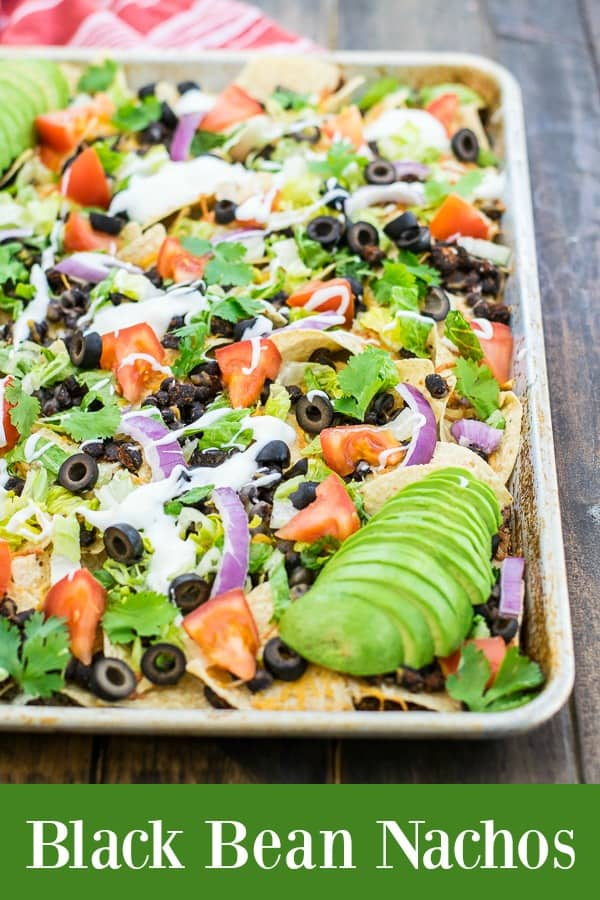 a recipe for seasoned black bean nachos, ready in 10 minutes on a sheet pan