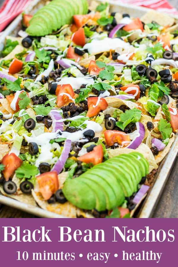 easy black bean nachos recipe ready in 10 minutes on a sheet tray