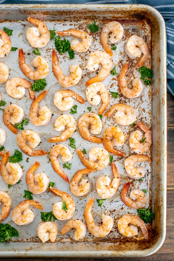 oven baked shrimp cooked on a sheet pan