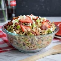 Shaved Brussel Sprout Salad with Strawberries, Apple, & Bacon