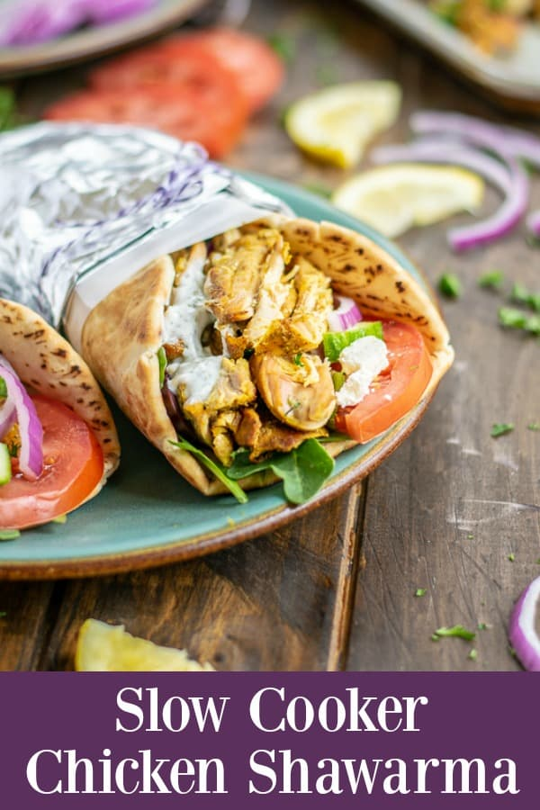 A Slow Cooker Chicken Shawarma Pita a perfect weeknight dinner | Slow Cooker Chicken Shawarma | Easy Chicken Shawarma Slow Cooker | Slow Cooker Chicken Shawarma Recipe | Chicken Shawarma in Slow Cooker | Slow Cooker Yogurt Chicken Shawarma