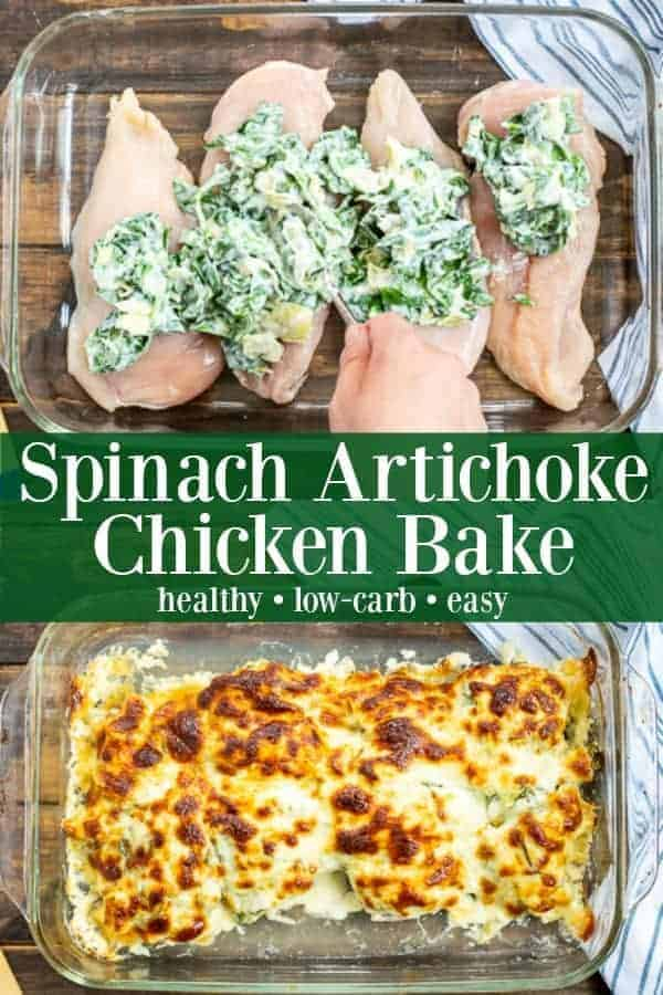Healthy Spinach Artichoke Chicken Bake Casserole - a perfect weeknight meal for the entire family Spinach Artichoke Chicken Bake | Spinach Artichoke Chicken Casserole | Spinach and Artichoke Chicken Bake | Spinach Artichoke Chicken | Spinach Artichoke Dip Chicken Bake | Spinach Artichoke Chicken Recipe