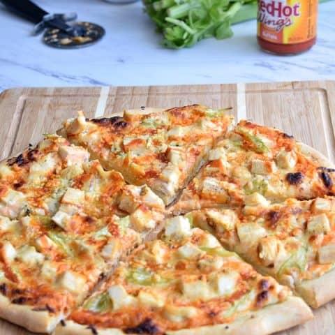 Cheesy Buffalo Chicken Pizza