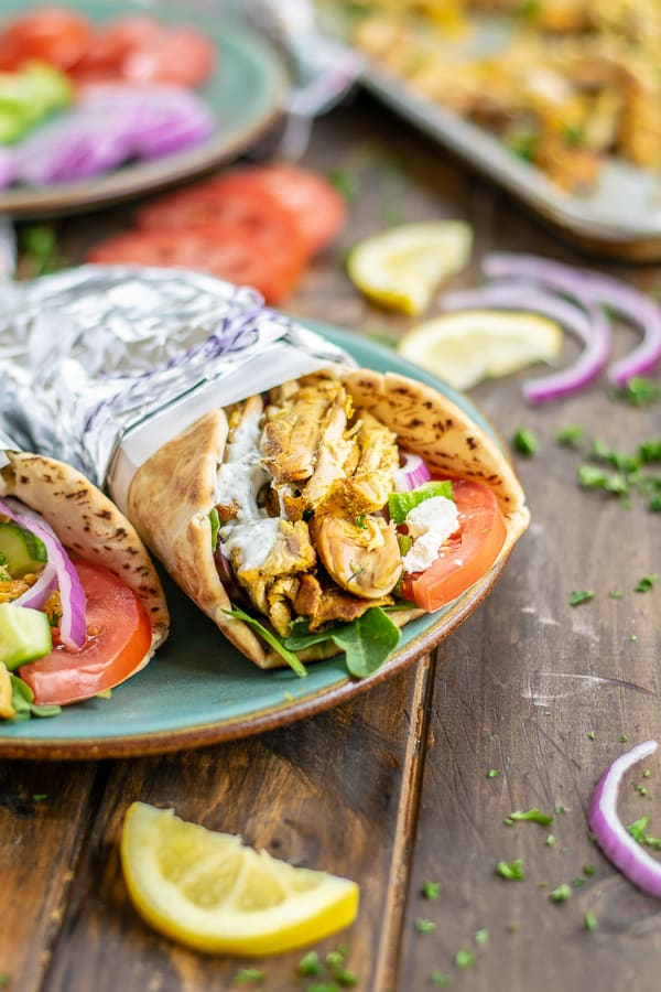 chicken shawarma wrapped in a pita and foil