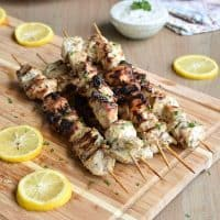 Grilled Greek Chicken Kabobs with Tzatziki