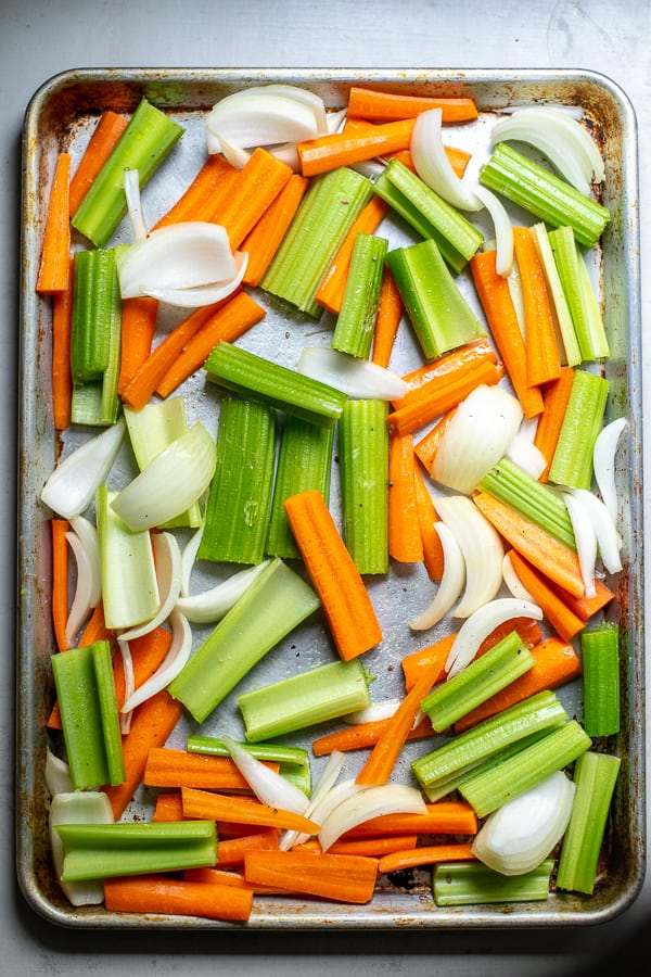 sheet pan filled with vegetables for step 1
