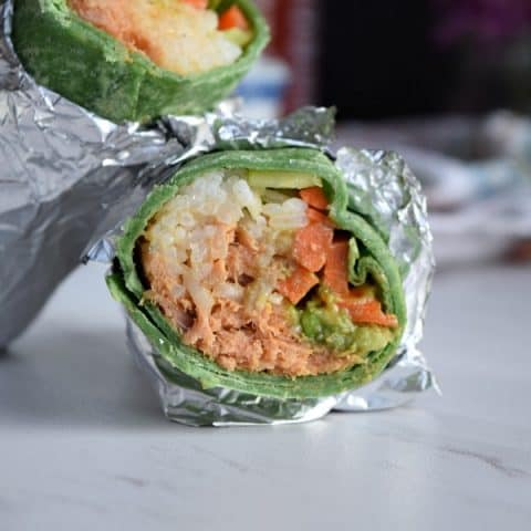 the inside of a spicy tuna wrap