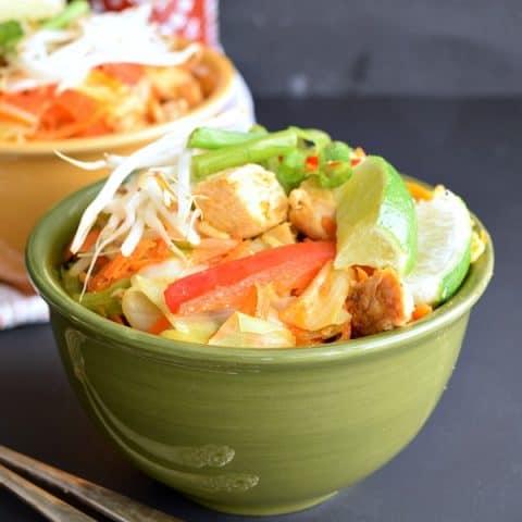 A bowl of Thai Peanut Chicken and Veggies