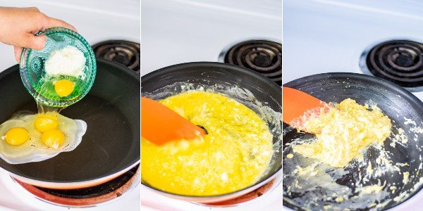 3 photo collage showing the steps of making the perfect scrambled eggs