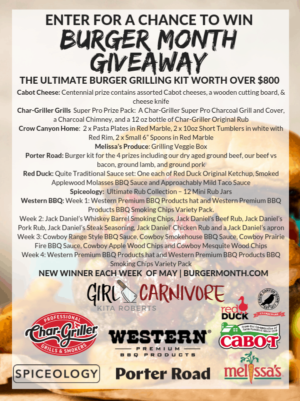 sponsors and giveaways for burger month 2019