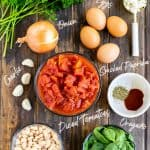 Ingredients with labels for the shakshuka with spinach