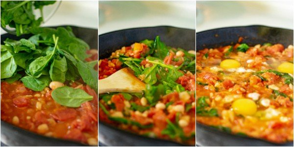 3 pictures of the following steps of the recipe, adding spinach to the skillet, cooking the spinach down, and adding an eggs