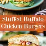 pinterest pin showing a burger on a plate and a burger cut in half showing buffalo cheese filling