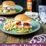 stuffed buffalo chicken burger on a plate with fries with a purple description box