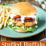 ground chicken burger stuffed with buffalo and blue cheese on a teal plate with French fries and a orange description box