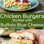 buffalo chicken pinterest pin with a picture of the full burger and a picture of the burger cut in half showing filling
