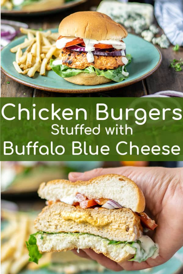 Ground Chicken Burgers Stuffed with Buffalo Sauce & Blue Cheese is exactly what you need to be grilling this summer. With step by step instructions and photos making this fantastic stuffed burger couldn't be easier! #groundchicken #grilled #recipe #bluecheese #ranchdressing Buffalo Chicken Burgers Recipe | Buffalo Chicken Burgers | Buffalo Chicken Burgers with Blue Cheese |Stuffed Buffalo Chicken Burger | Buffalo Chicken Burgers Stuffed with Blue Cheese