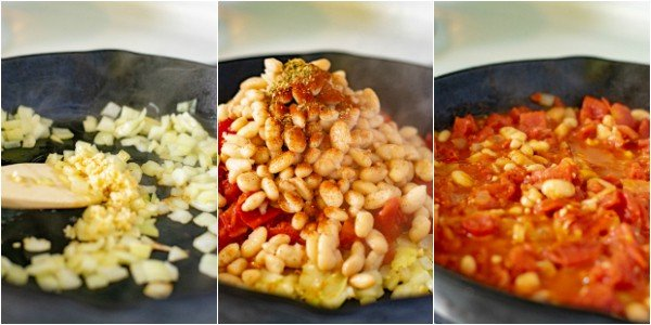 3 pictures with the following steps for the recipe cooking the diced onion with garlic, adding the tomato/beans/spices, and cooking down the liquids
