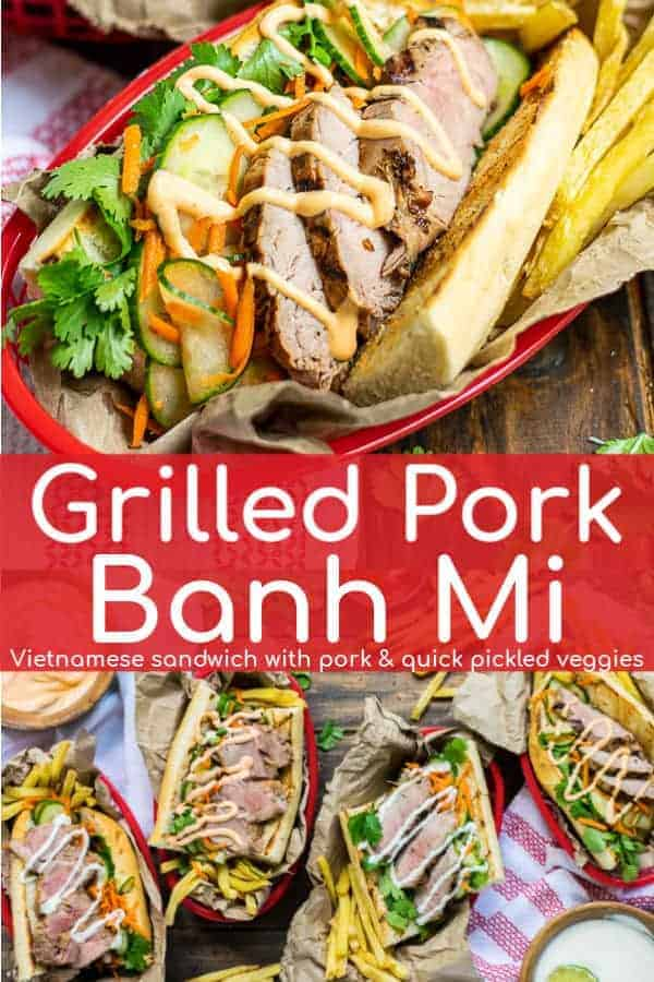 Pork tenderloin marinated & grilled to perfection is the star of this authentic Vietnamese Pork Banh Mi sandwich. The grilled pork is topped with crunchy quick pickled veggies, cilantro, and spicy or sweet mayo is served on crunchy french baguette | theschmidtywife.com | #ad #recipe #pork #sauce #authentic #Vietnam #breads #pickledcarrots #mayonnaise #streetfood #grilled #porktenderloinrecipes #porktenderloin  #sandwich